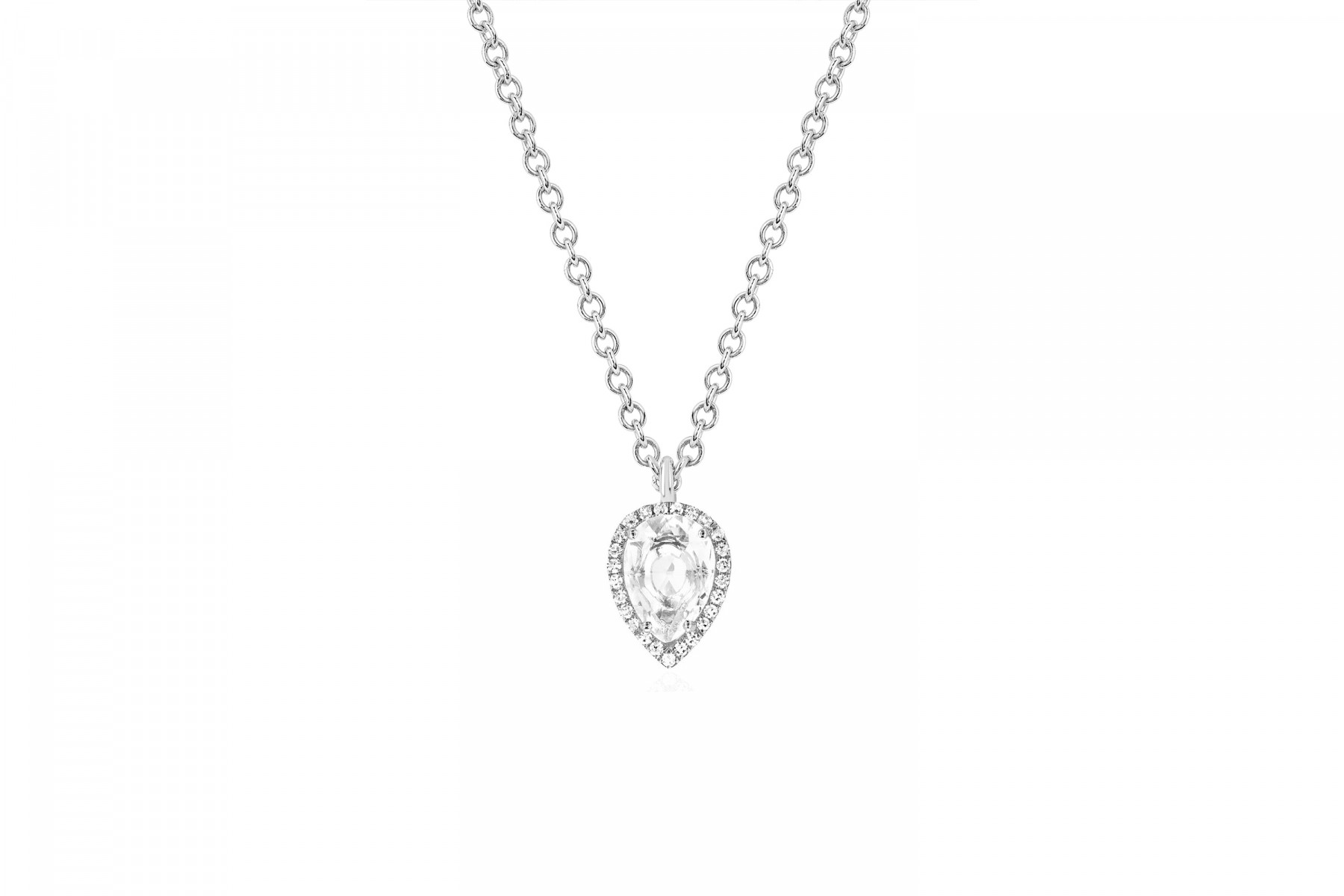 EF Collection White Topaz and Diamond Teardrop Necklace white gold