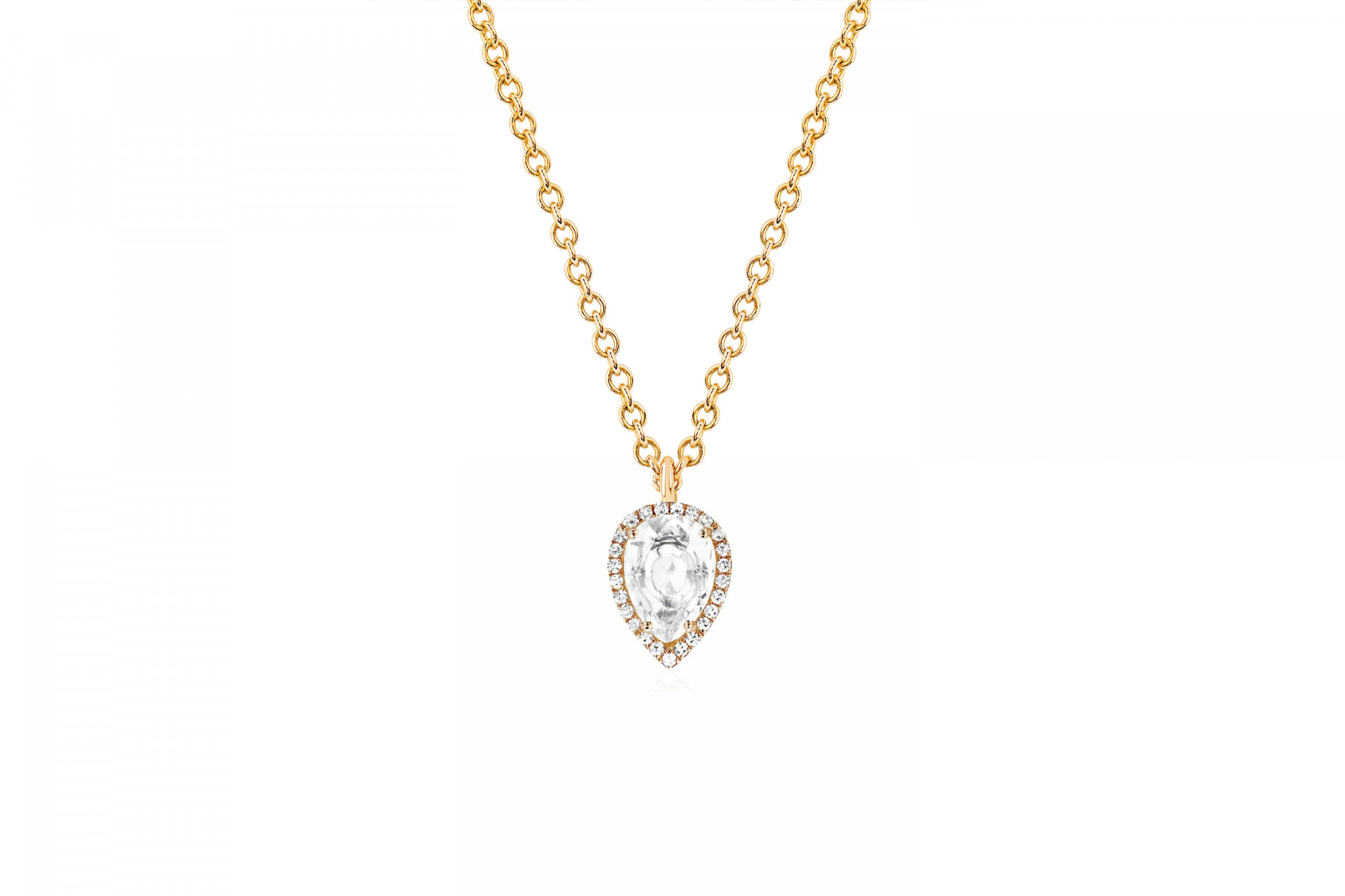 EF Collection White Topaz and Diamond Teardrop Necklace yellow gold