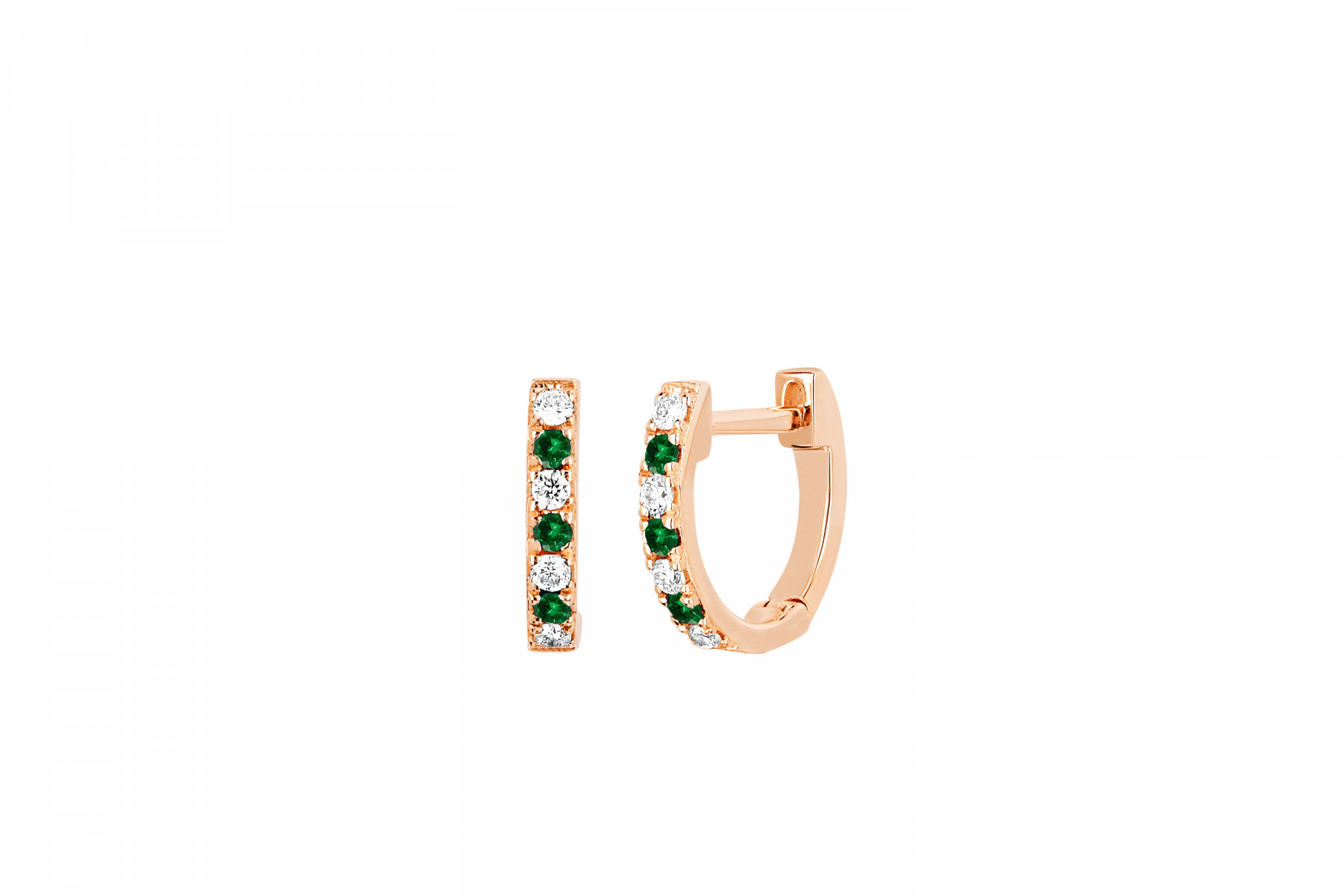 EF Collection Diamond and Tsavorite Huggies in 14K Rose Gold