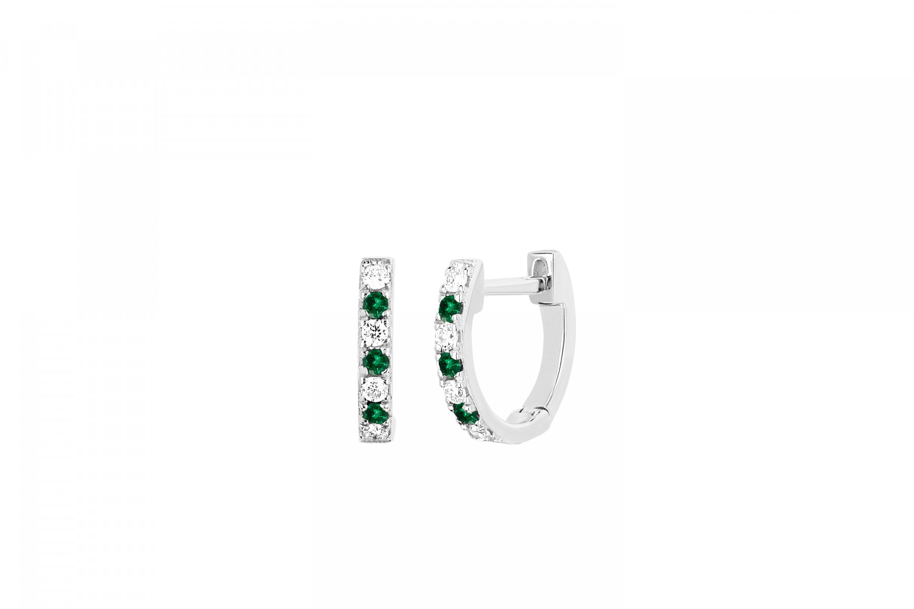 EF Collection Diamond and Tsavorite Huggies in 14K White Gold