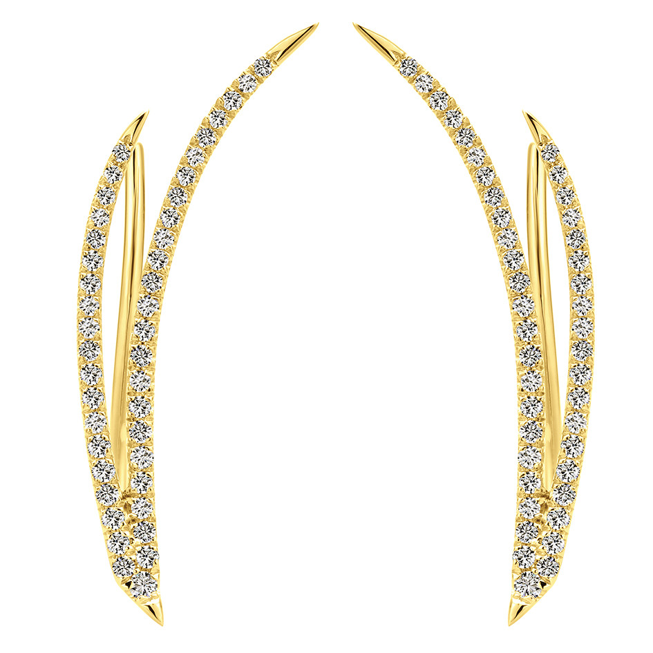 Yellow GOld Diamond Ear Climbers