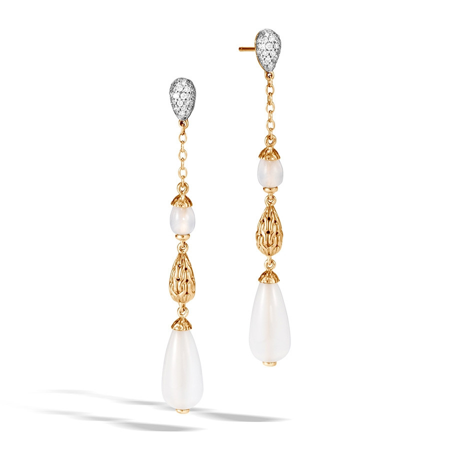 John Hardy Yellow Gold Classic Chain White Moonstone Long Drop Earrings