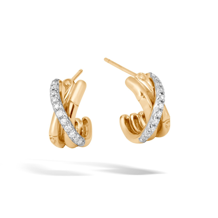 John Hardy Yellow Gold Bamboo Small Diamond J Hoop Earrings