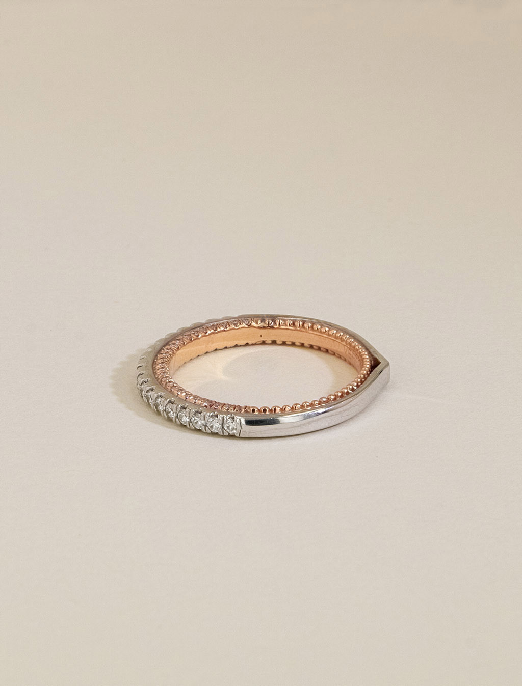 Verragio Couture Diamond Wedding Band in White and Rose Gold side view