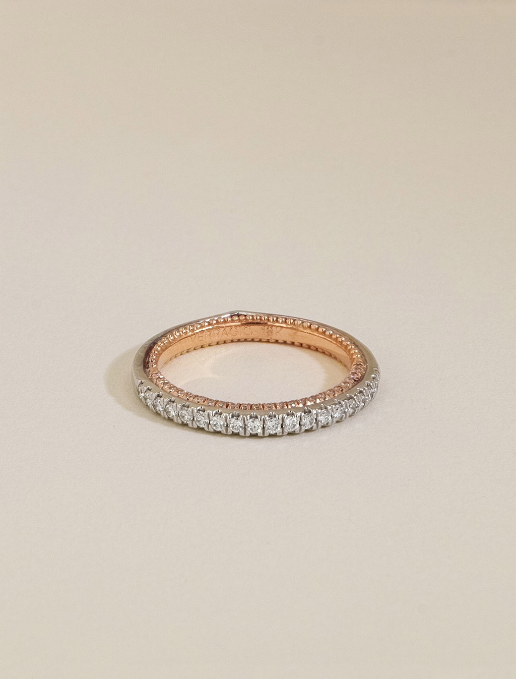 Verragio Couture Diamond Wedding Band in White and Rose Gold