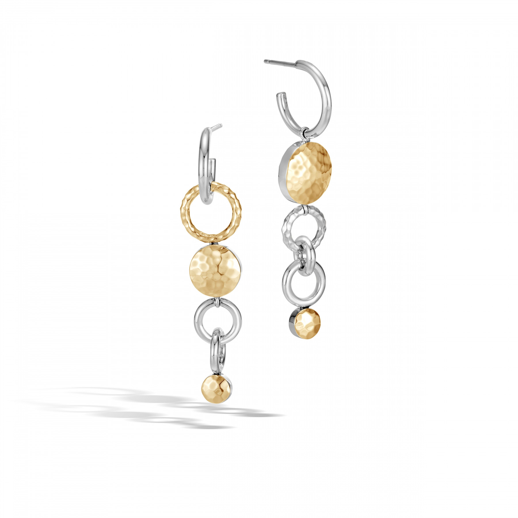 John Hardy Dot Silver & Yellow Gold Interlink Drop Earrings