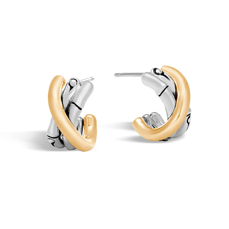 John Hardy Gold & Silver J Hoop Bamboo Earrings