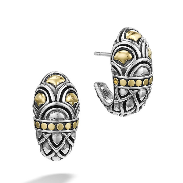 John Hardy Naga Shrimp Silver & Gold Earrings