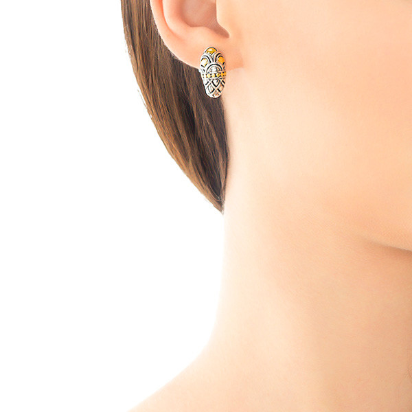 John Hardy Naga Shrimp Silver & Gold Earrings On Model