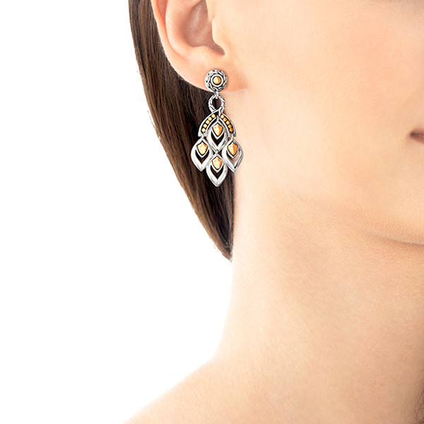 John Hardy Naga Two Tone Chandelier Drop Earrings On Model