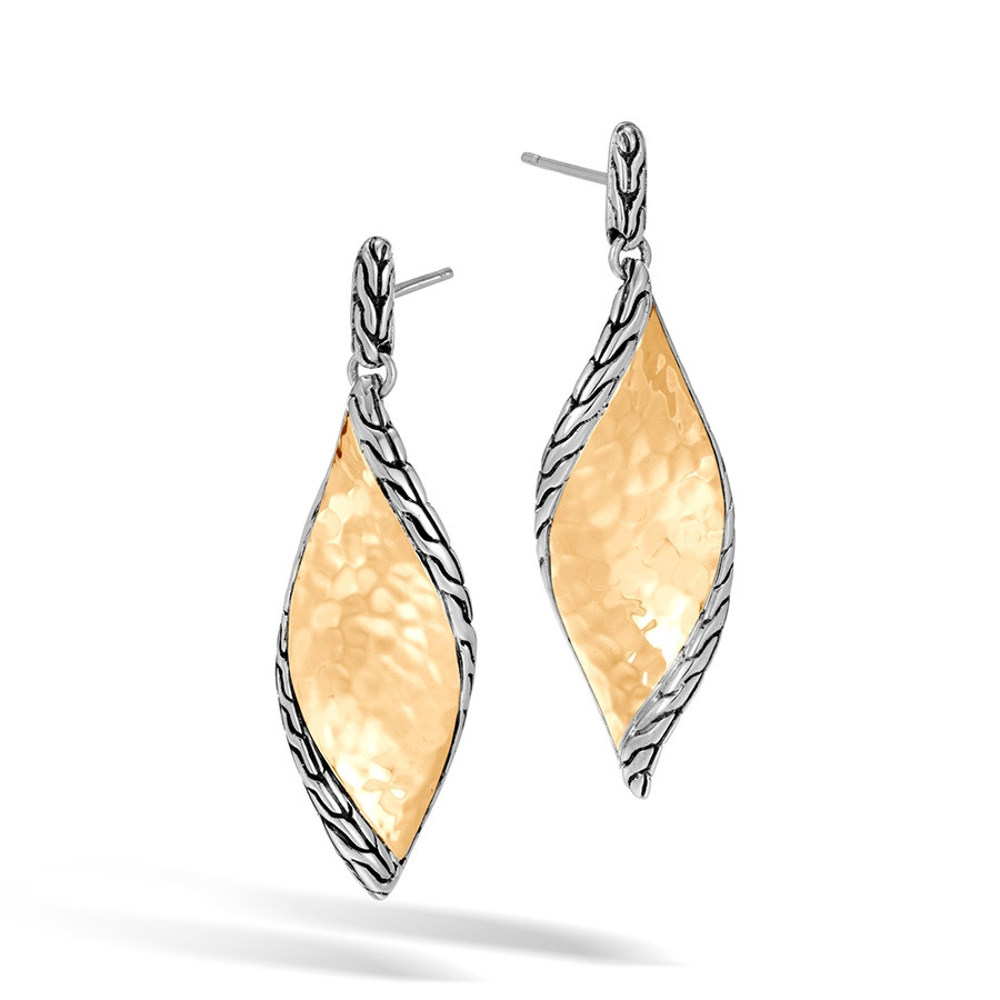 John Hardy Hammered Gold & Silver Wave Twist Drop Classic Chain Earrings