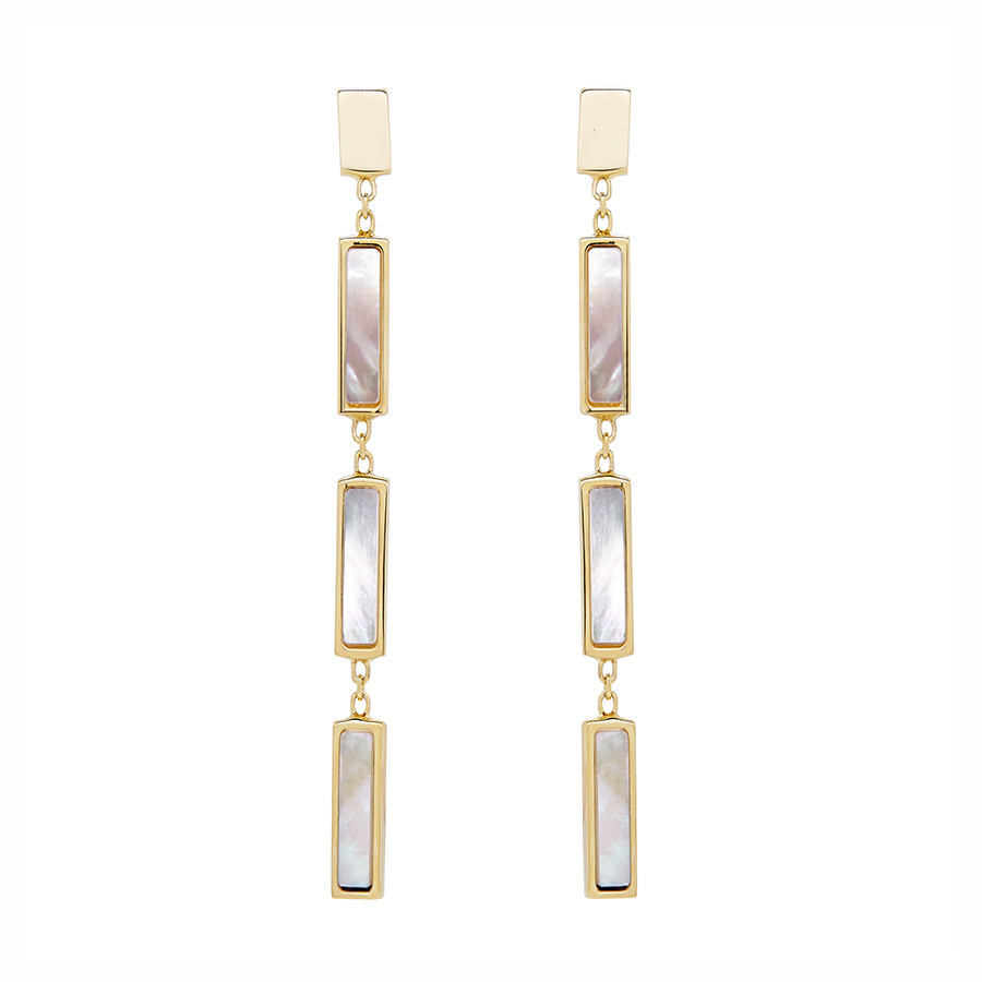 Honora Geodescent Yellow Gold Rectangle Mirror Mother of Pearl Drop Earrings