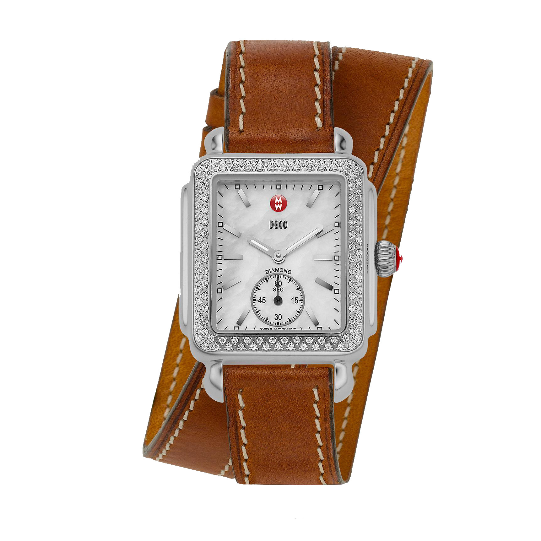 Michele Deco Stainless Steel and  Diamond Saddle Wrap Watch front