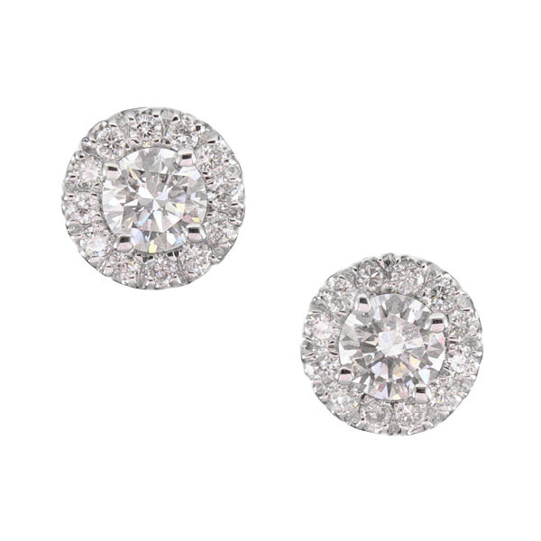 Forevermark The Center of My Universe 18kt White Gold Diamond Halo Stud Earrings