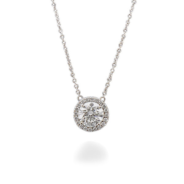 Forevermark The Center of My Universe 18kt White Gold Diamond Halo Pendant Necklace
