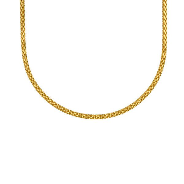 """Fope 16.5"""" Classic 2.8mm Mesh Yellow Gold Necklace Close Up"""