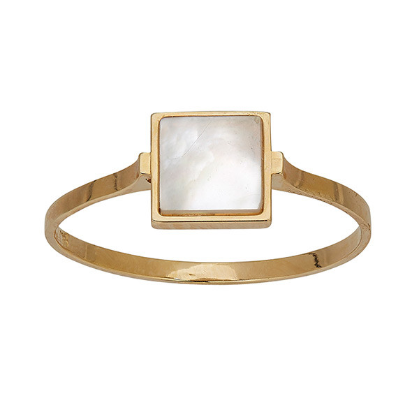 Honora Mother of Pearl Square Station Gold Ring