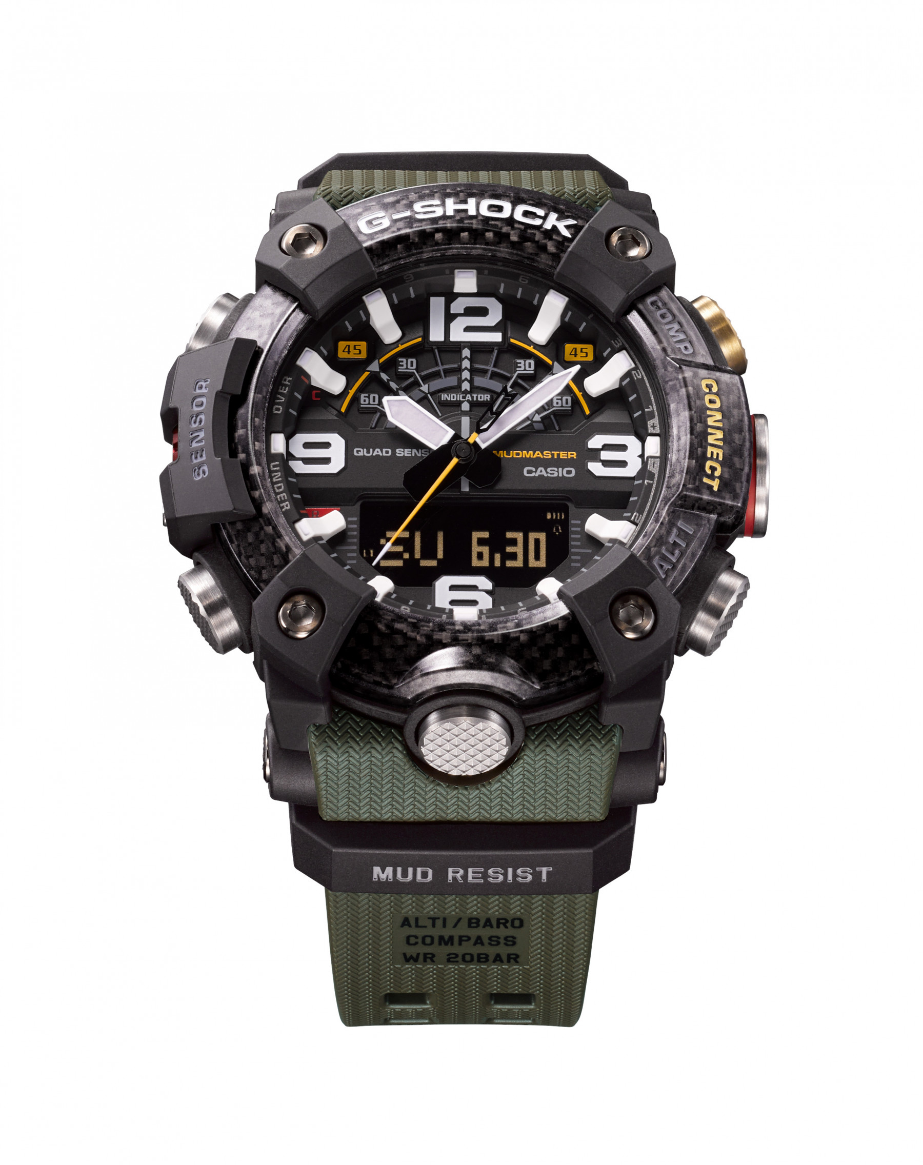G-Shock Carbon Core Green and Black Mudmaster Watch angle view