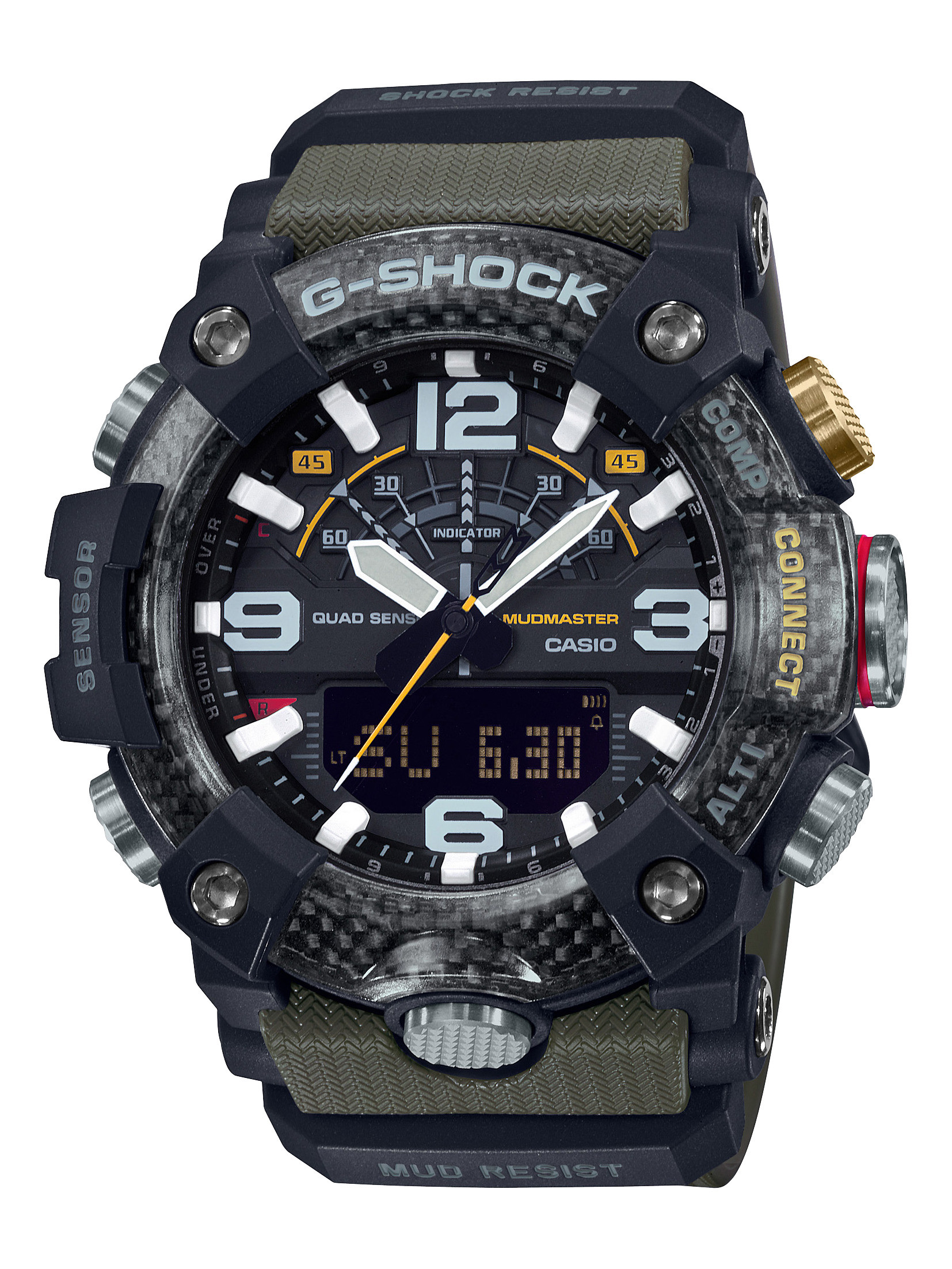 G-Shock Carbon Core Green and Black Mudmaster Watch front view