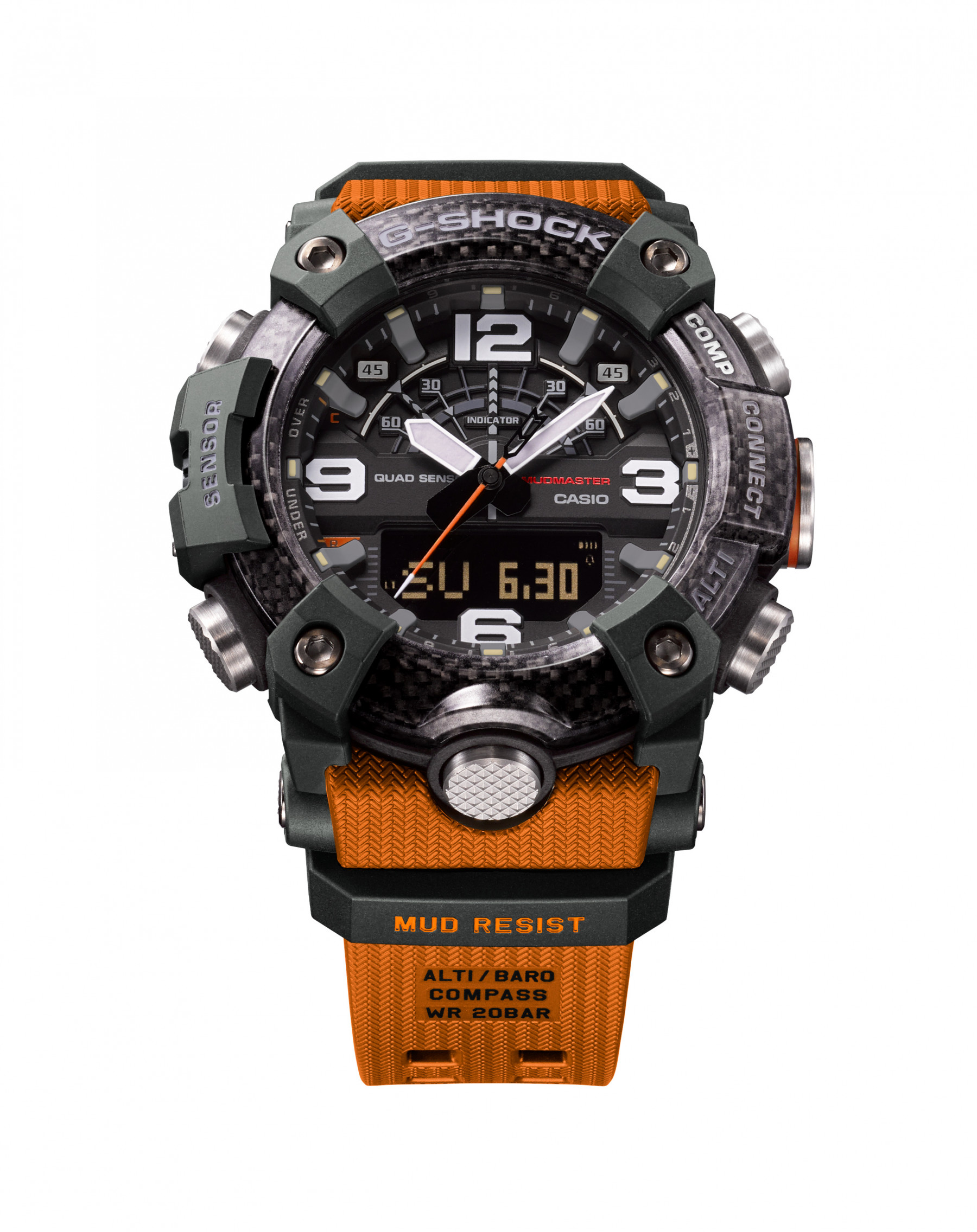 G-Shock Carbon Core Orange and Black Watch angle view