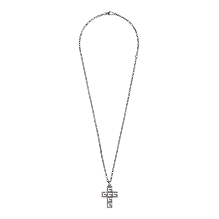 Gucci G Cube Cut Out G Silver Cross Necklace Main Image