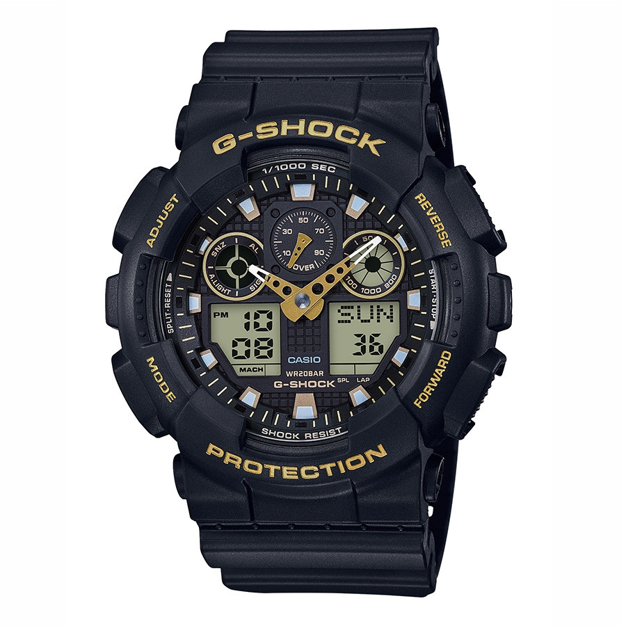 Men's G-Shock by Casio Black & Yellow Gold Accent Watch