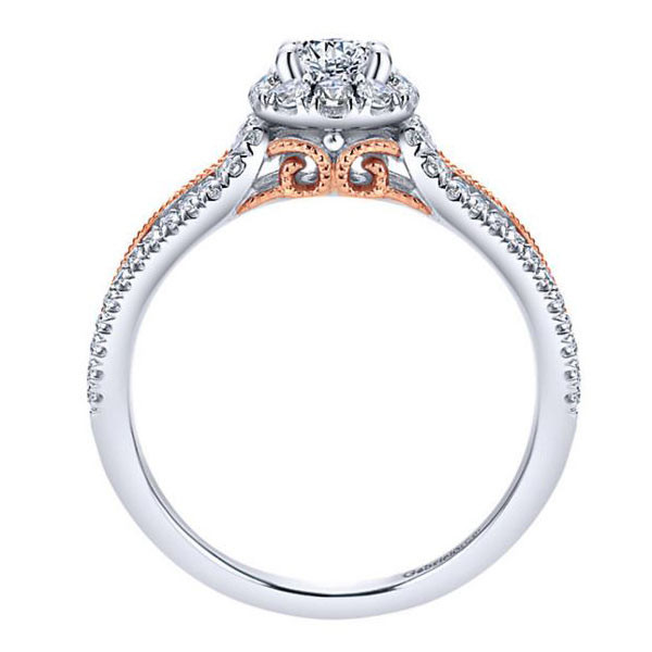 Gabriel&Co White & Pink Gold Halo Engagement Ring Side View