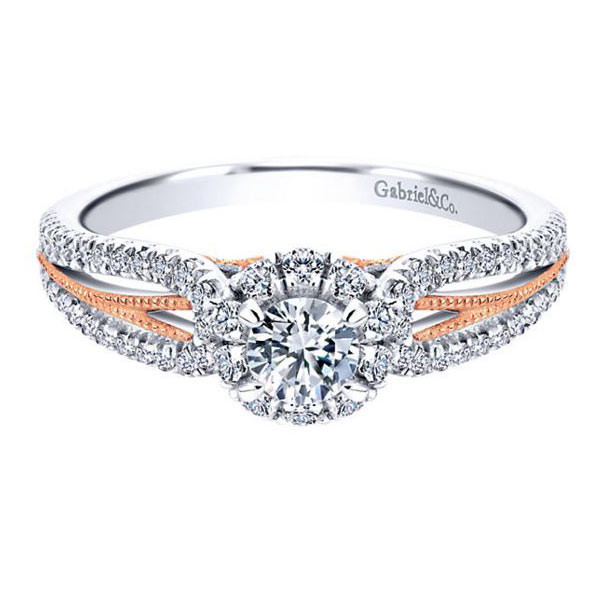 Gabriel&Co White & Pink Gold Halo Engagement Ring