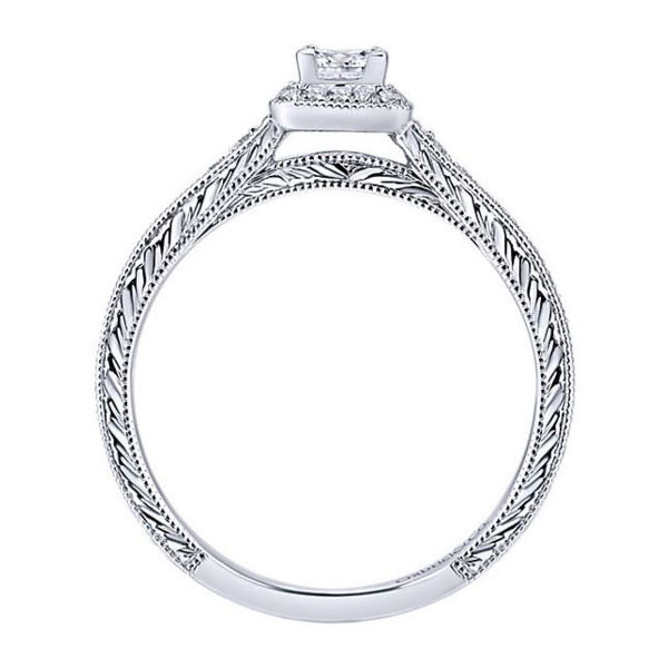 Gabriel&Co Vintage Halo Engagement Ring Side View