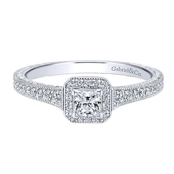 Gabriel&Co Vintage Halo Engagement Ring