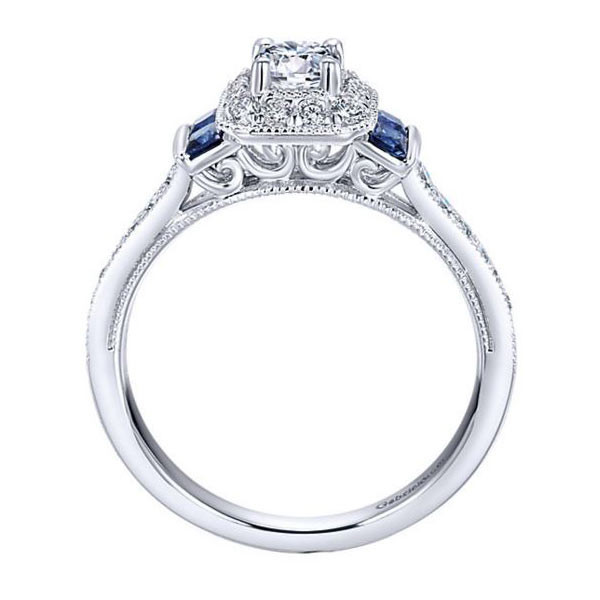 Gabriel&Co Sapphire Halo Engagement Ring Side View