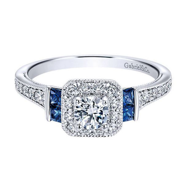 Gabriel&Co Sapphire Halo Engagement Ring