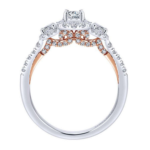 Gabriel&Co Three Stone Halo Engagement Ring Side View