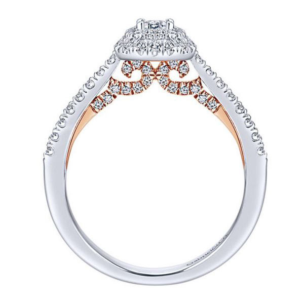 Gabriel&Co White & Pink Gold 3/4 Carat Halo Engagement Ring Side View