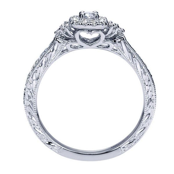 Gabriel&Co Vintage Engagement Ring Side View