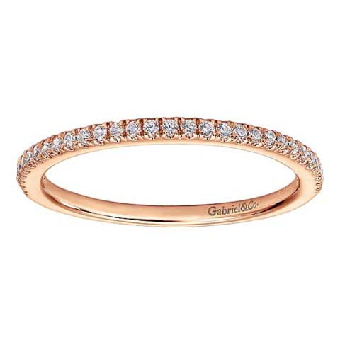 Gabriel&Co Rose Gold Contemporary Diamond Straight Band