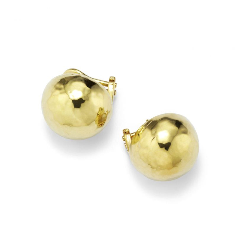 Ippolita 18K Gold Classico Hammered Gold Clip Earrings