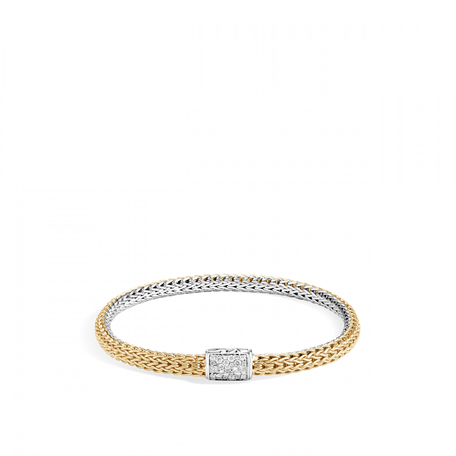 John Hardy Classic Chain Diamond Two Tone Reversible Bracelet on gold side