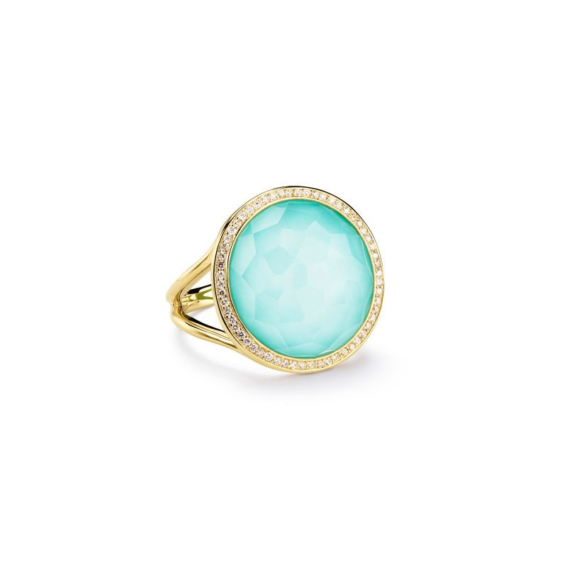 IPPOLITA 18K Gold Lollipop Turquoise Ring with Diamonds