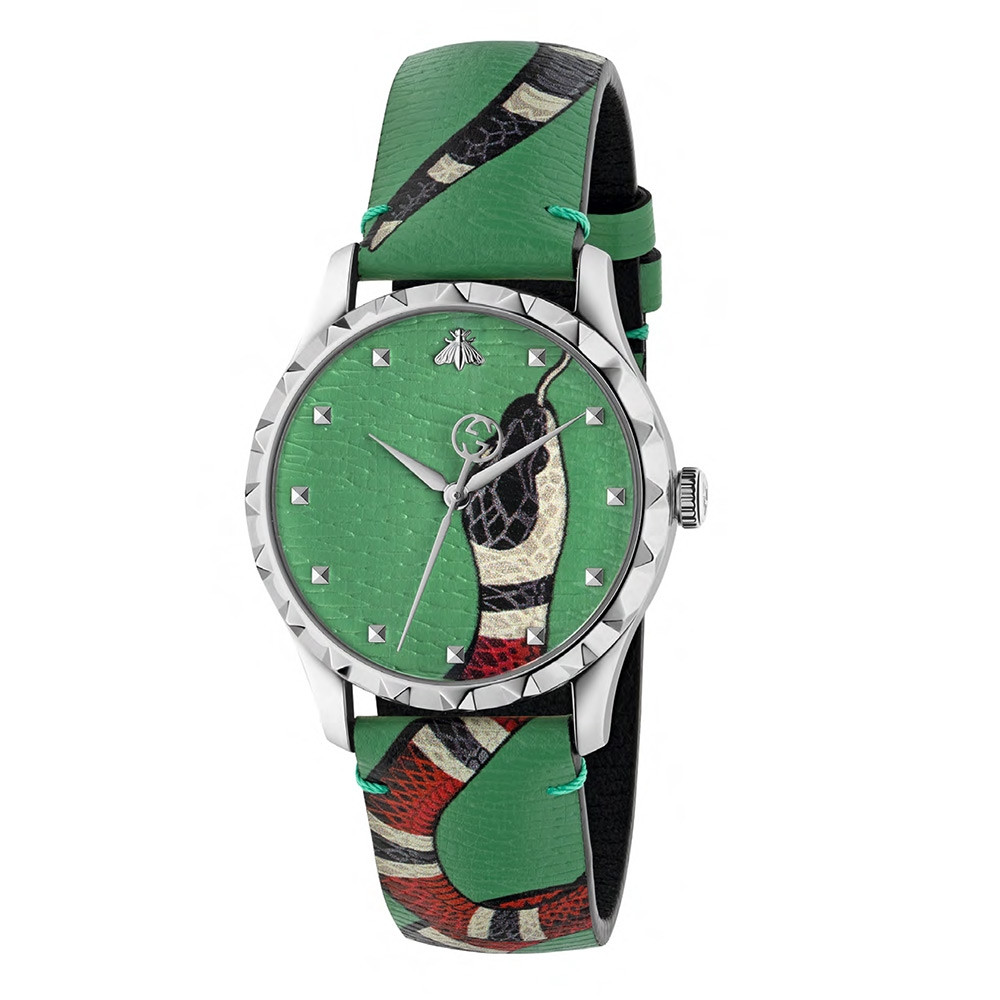 Gucci G-Timeless Soft Green Kingsnake Watch