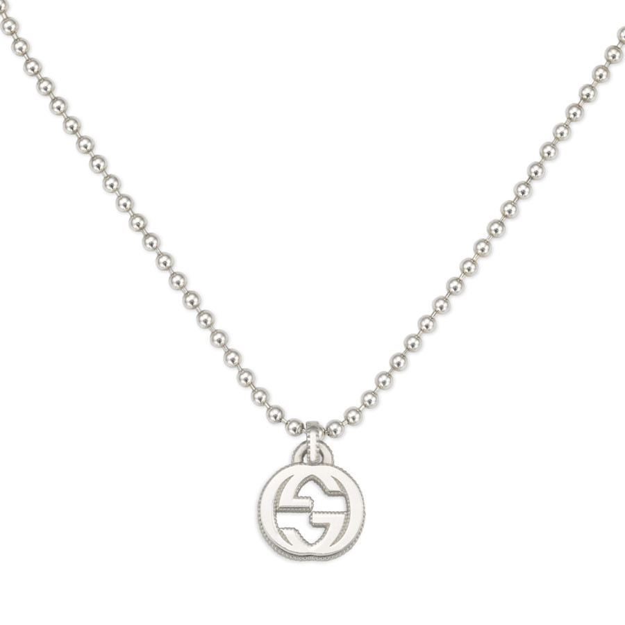 Gucci Small Textured Silver Pendant Interlocking G Necklace