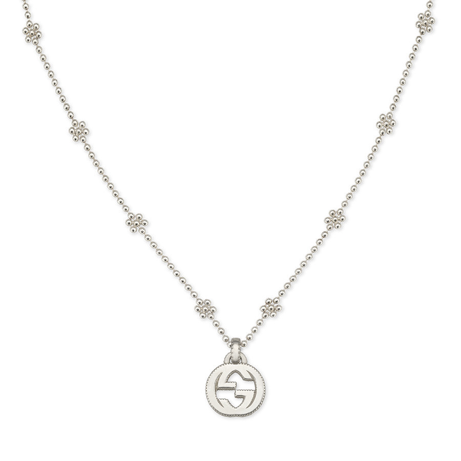 1d9b8ad38fa Gucci Interlocking G Silver Flower Station Necklace