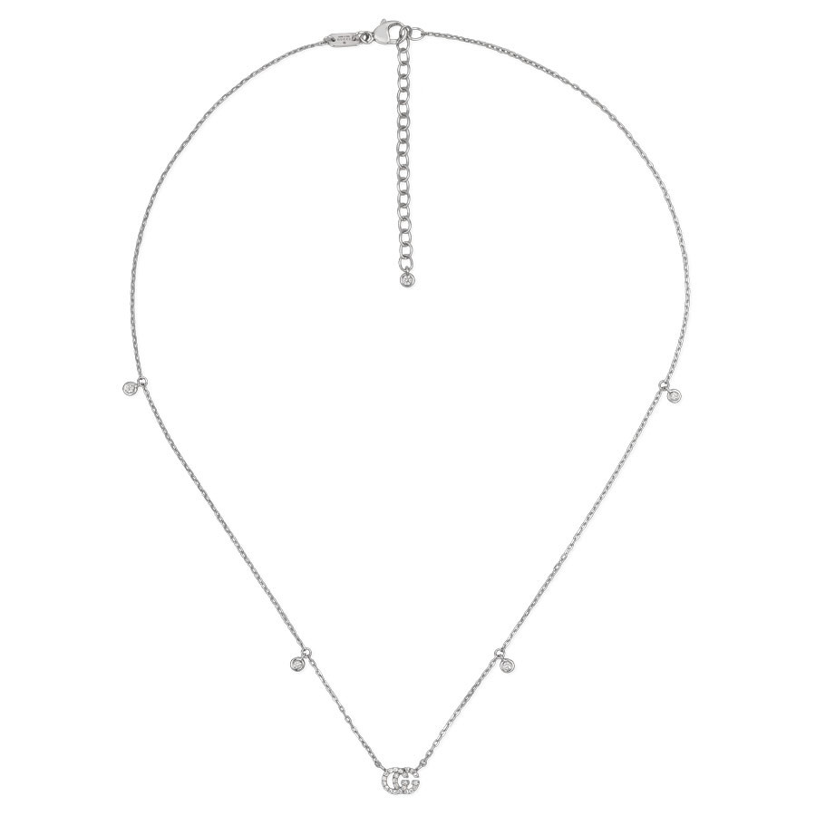 Gucci Small White Gold Diamond Station Pendant Running G Necklace Full View