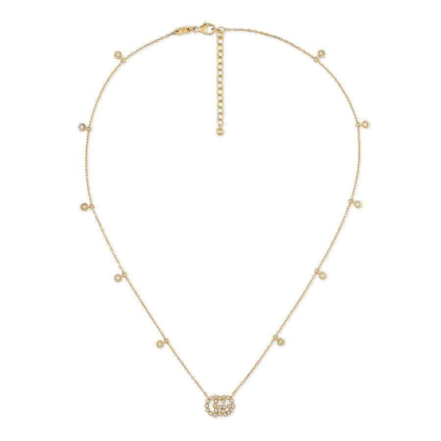 Gucci Running G Diamond Station Pendant Necklace Yellow Gold Full View