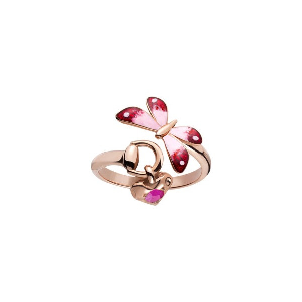 Gucci Flora Enamel & Ruby Pink Gold Ring