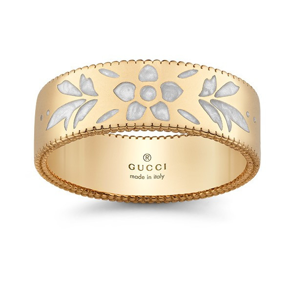 Gucci Icon Blossom Yellow Gold & White Enamel Wide Band Ring