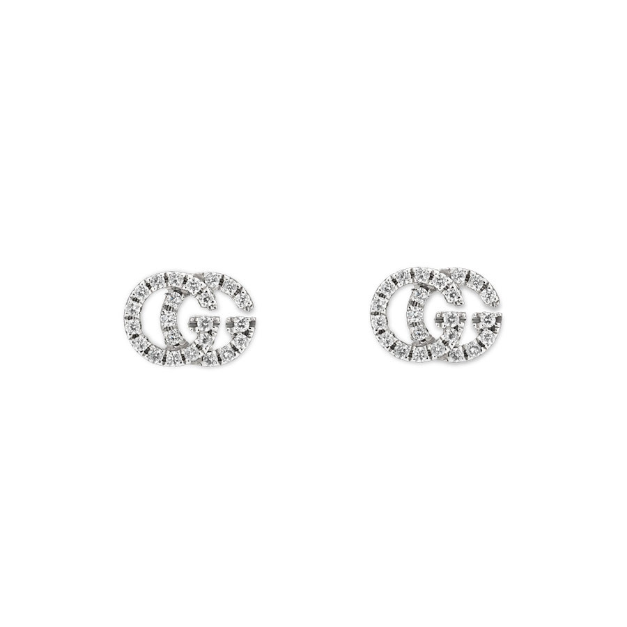 Gucci White Gold Pave Diamond Stud Running G Earrings