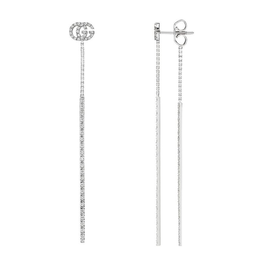 0241399330c Gucci GG Running 18K White Gold   Diamond Drop Earrings