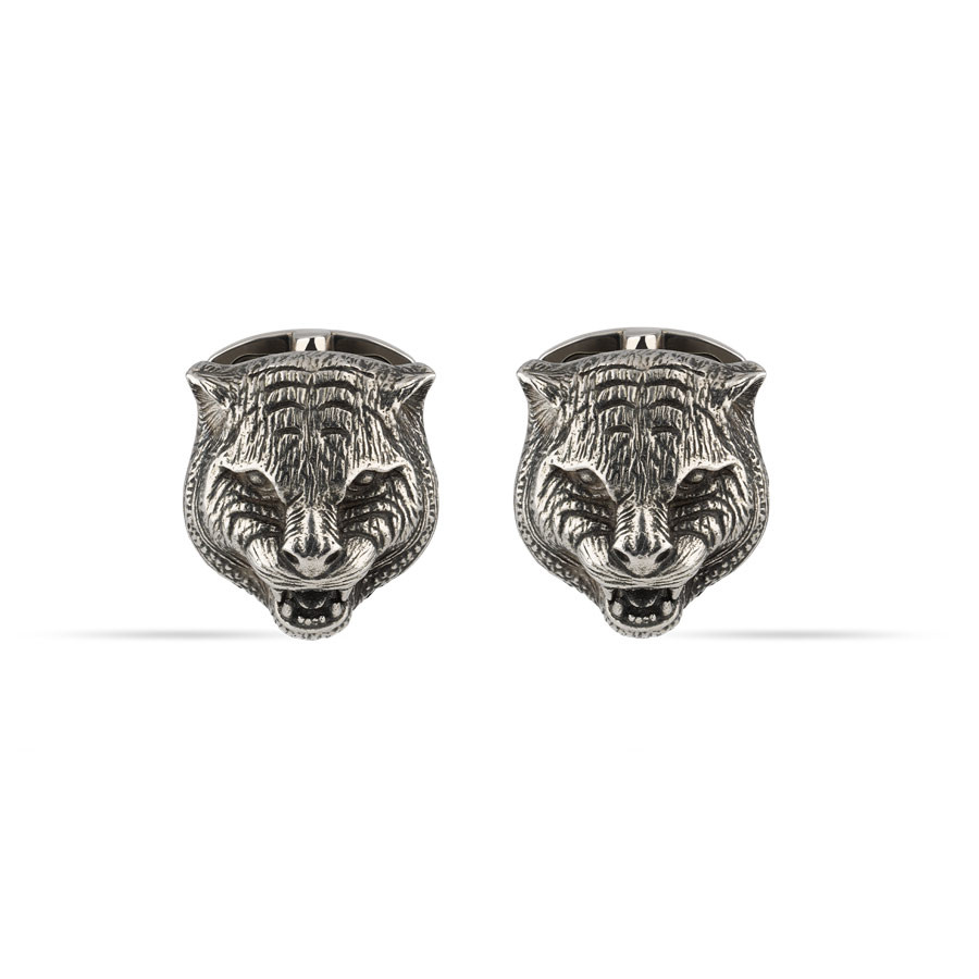 Gucci Feline Head Silver Gatto Cufflinks