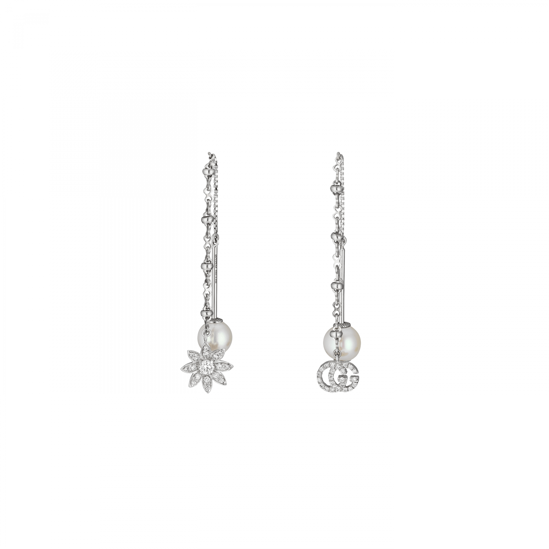 Gucci Flora and GG Diamond Drop Earrings with Pearls